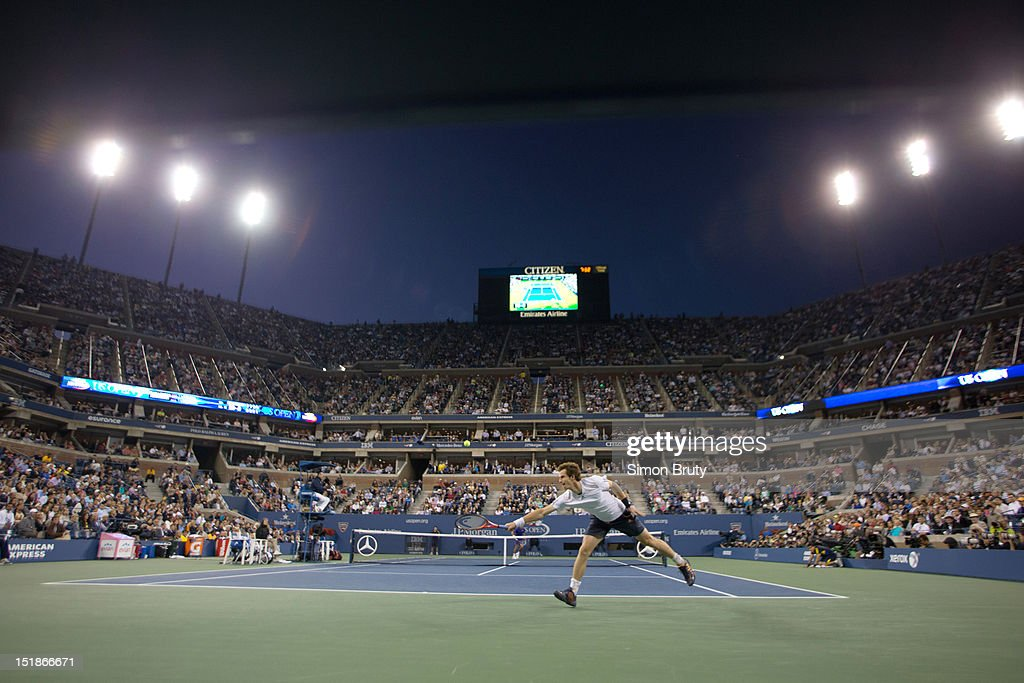 Overall view of Great Britain Andy Murray in action vs Serbia Novak Djokovic during Men's Final at BJK National Tennis Center. Simon Bruty F100 )
