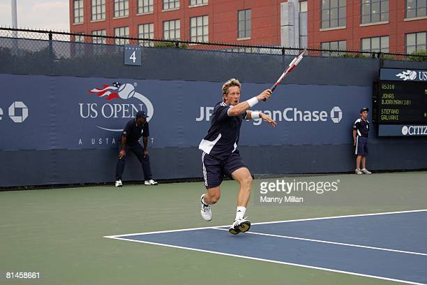 Tennis US Open Qualifier SWE Jonas Bjorkman in action during qualifying match vs Italy Stefano Galvani at National Tennis Center Flushing NY 8/26/2005