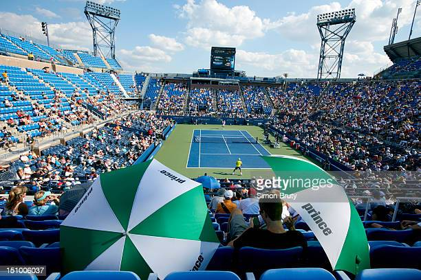 US Open Scenic view of fans with umbrellas in stands during Day 2 at BJK National Tennis Center Flushing NY CREDIT Simon Bruty