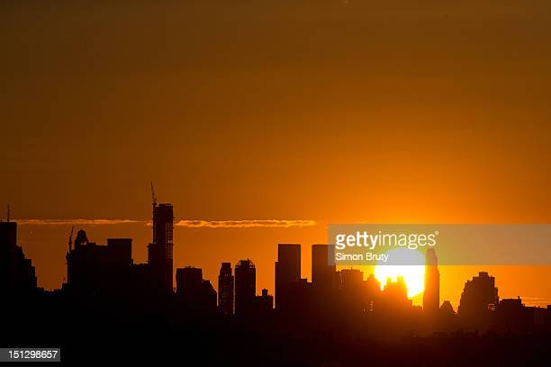 US Open Scenic view of sunset and Manhattan skyline during 1st Round at BJK National Tennis Center Flushing NY CREDIT Simon Bruty