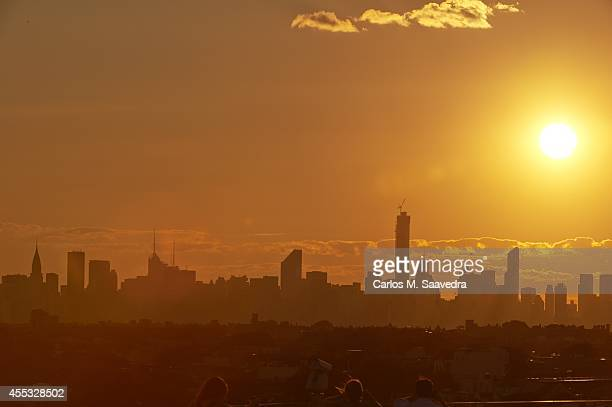 US Open Scenic view of sunset over Manhattan skyline during 2nd Round match at BJK National Tennis Center Flushing NY CREDIT Carlos M Saavedra