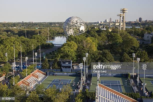 Tennis US Open Scenic view of Unisphere at Flushing Meadows Park and courts at National Tennis Center Flushing NY 9/7/2005