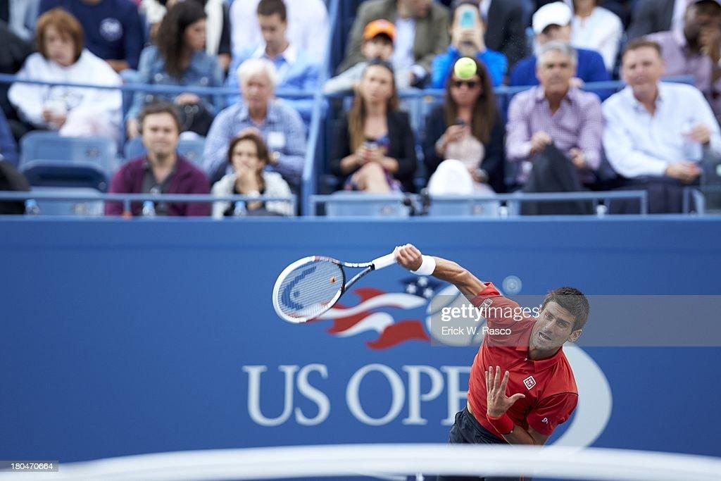 Serbia Novak Djokovic in action, serving vs Spain Rafael Nadal during Men's Final at BJK National Tennis Center. Erick W. Rasco F90 )