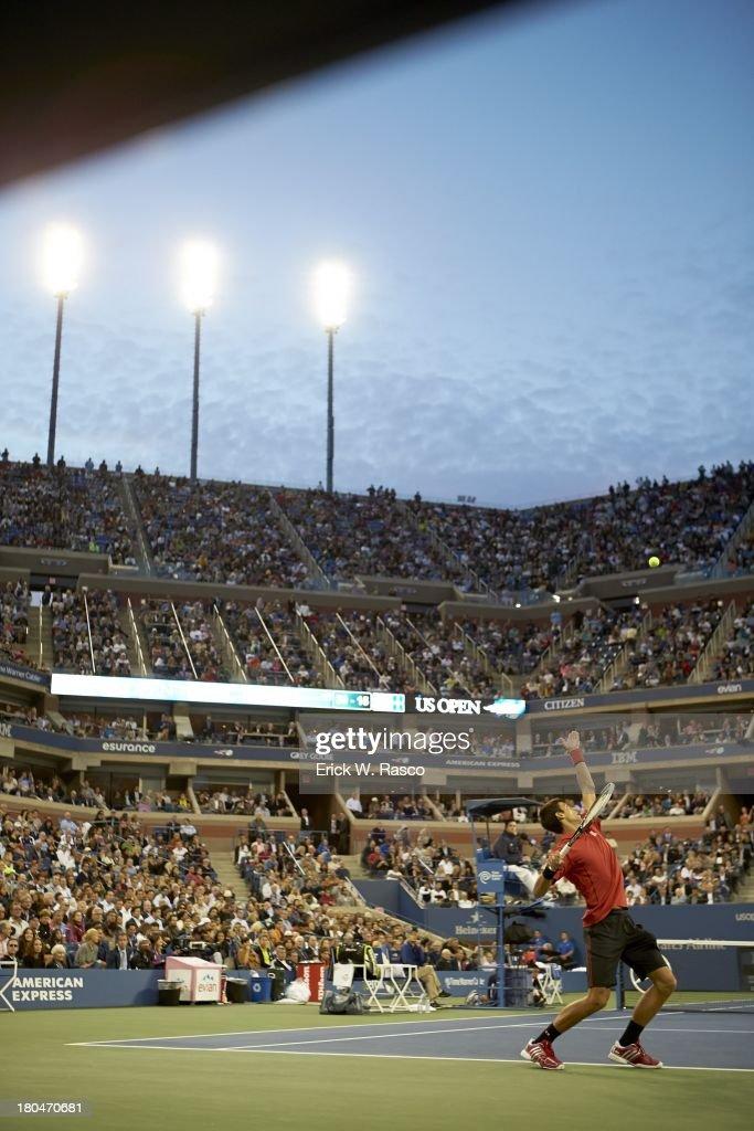 Serbia Novak Djokovic in action, serving vs Spain Rafael Nadal during Men's Final at BJK National Tennis Center. Erick W. Rasco F180 )