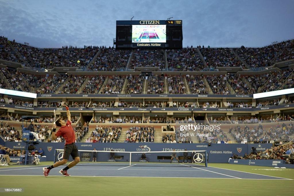 Serbia Novak Djokovic in action, serving vs Spain Rafael Nadal during Men's Final at BJK National Tennis Center. Erick W. Rasco F190 )