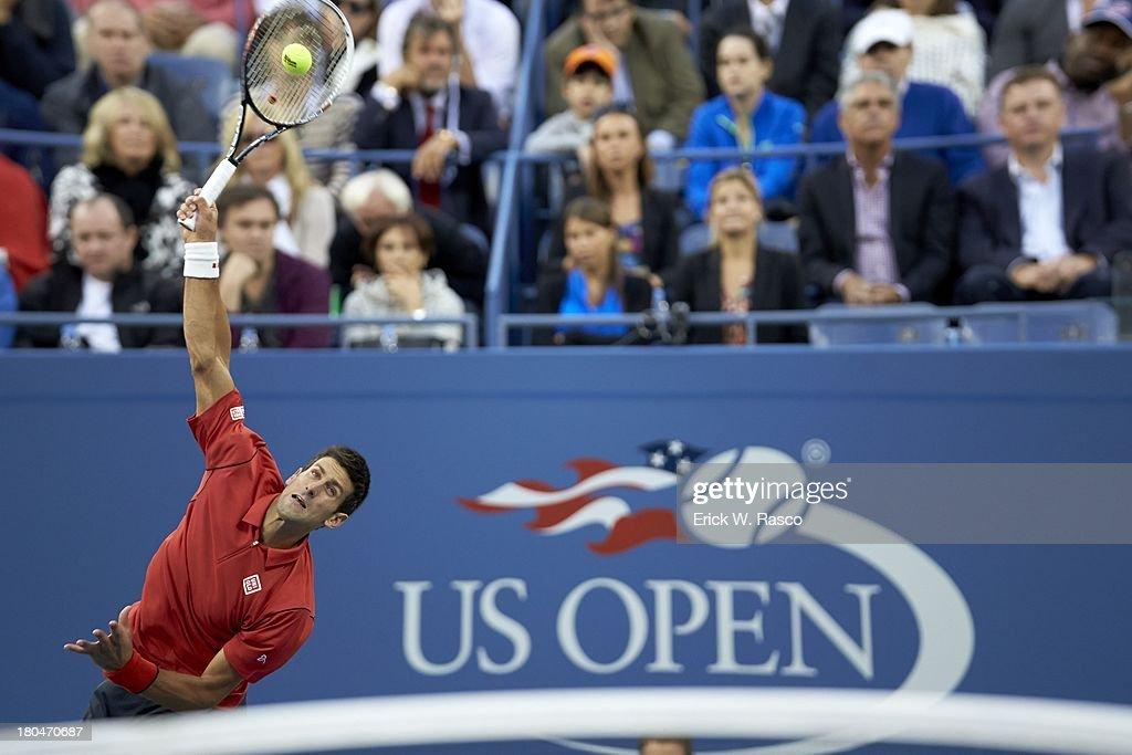 Serbia Novak Djokovic in action, serving vs Spain Rafael Nadal during Men's Final at BJK National Tennis Center. Erick W. Rasco F184 )