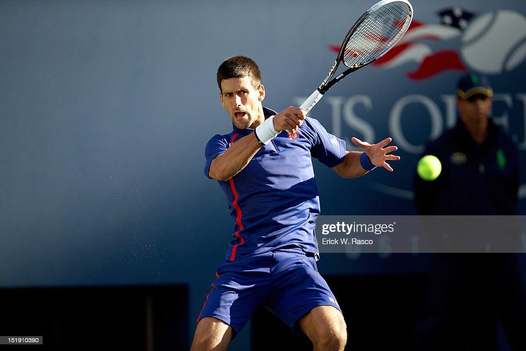 Serbia Novak Djokovic in action vs Great Britain Andy Murray during Men's Final at BJK National Tennis Center. Erick W. Rasco F328 )