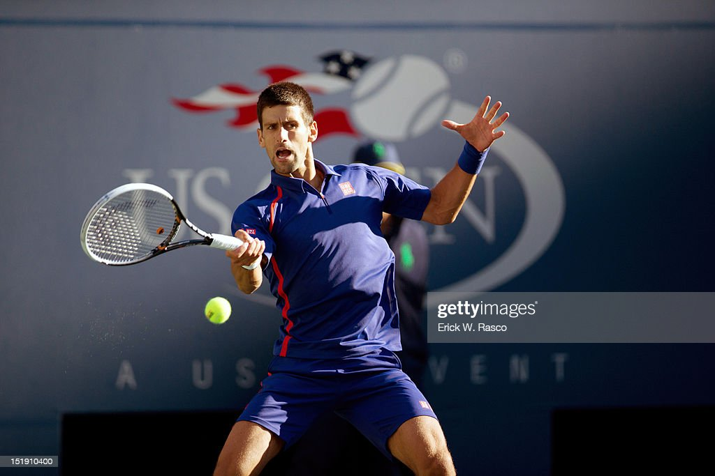 Serbia Novak Djokovic in action vs Great Britain Andy Murray during Men's Final at BJK National Tennis Center. Erick W. Rasco F282 )
