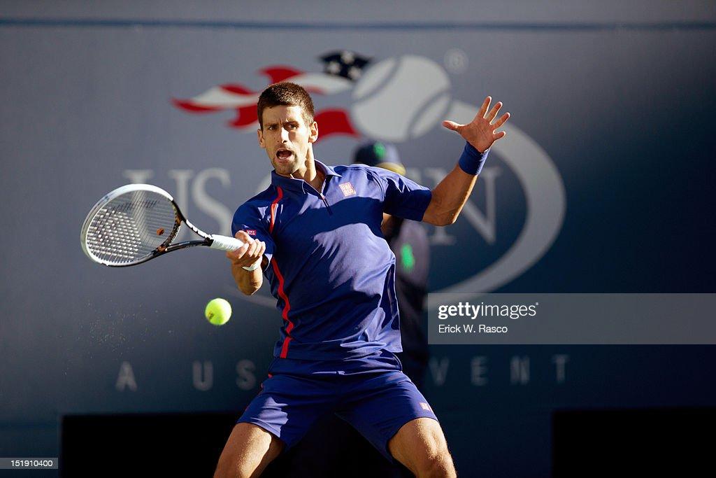 Serbia Novak Djokovic in action vs Great Britain Andy Murray during Men's Final at BJK National Tennis Center. Erick W. Rasco F282 )