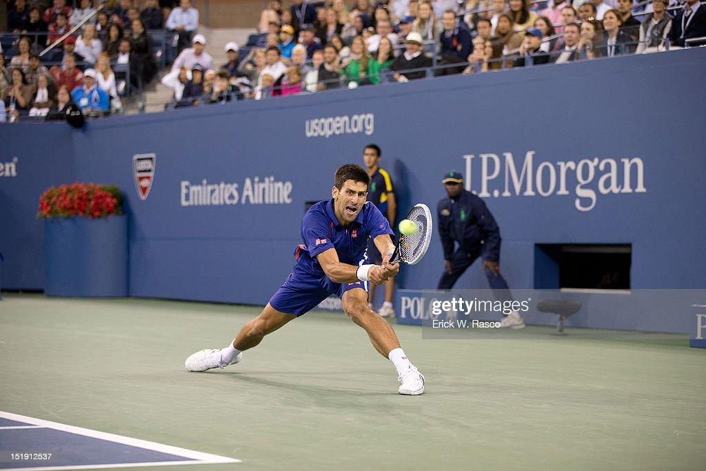 Serbia Novak Djokovic in action vs Great Britain Andy Murray during Men's Final at BJK National Tennis Center. Erick W. Rasco F62 )