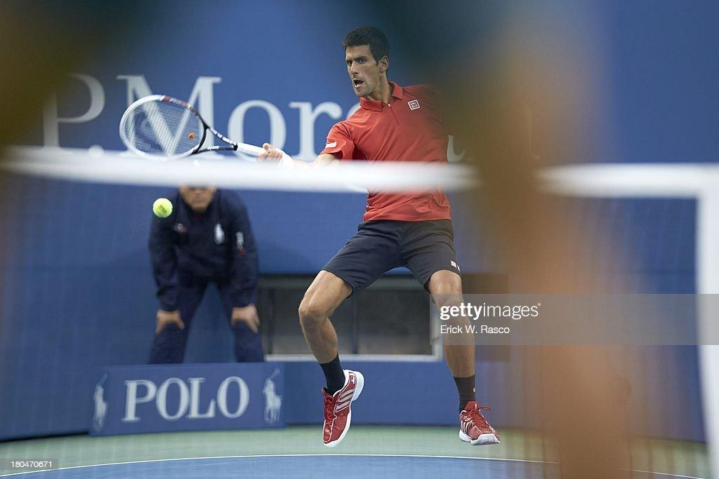 Serbia Novak Djokovic in action vs Spain Rafael Nadal during Men's Final at BJK National Tennis Center. Erick W. Rasco F109 )