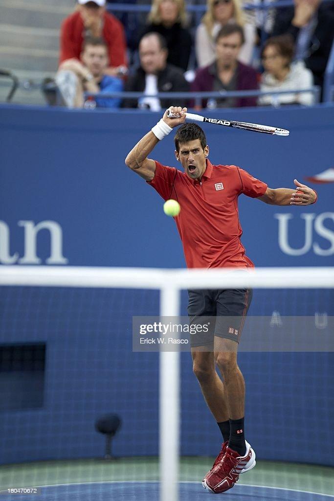 Serbia Novak Djokovic in action vs Spain Rafael Nadal during Men's Final at BJK National Tennis Center. Erick W. Rasco F124 )