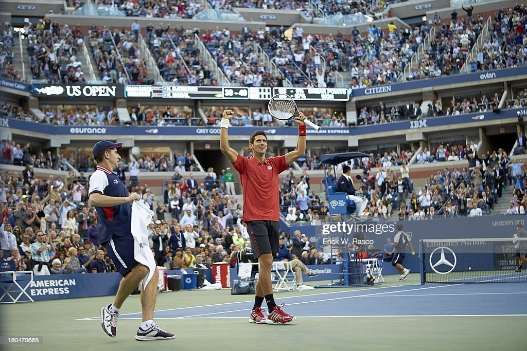 Serbia Novak Djokovic victorious during match vs Spain Rafael Nadal during Men's Final at BJK National Tennis Center. Erick W. Rasco F227 )