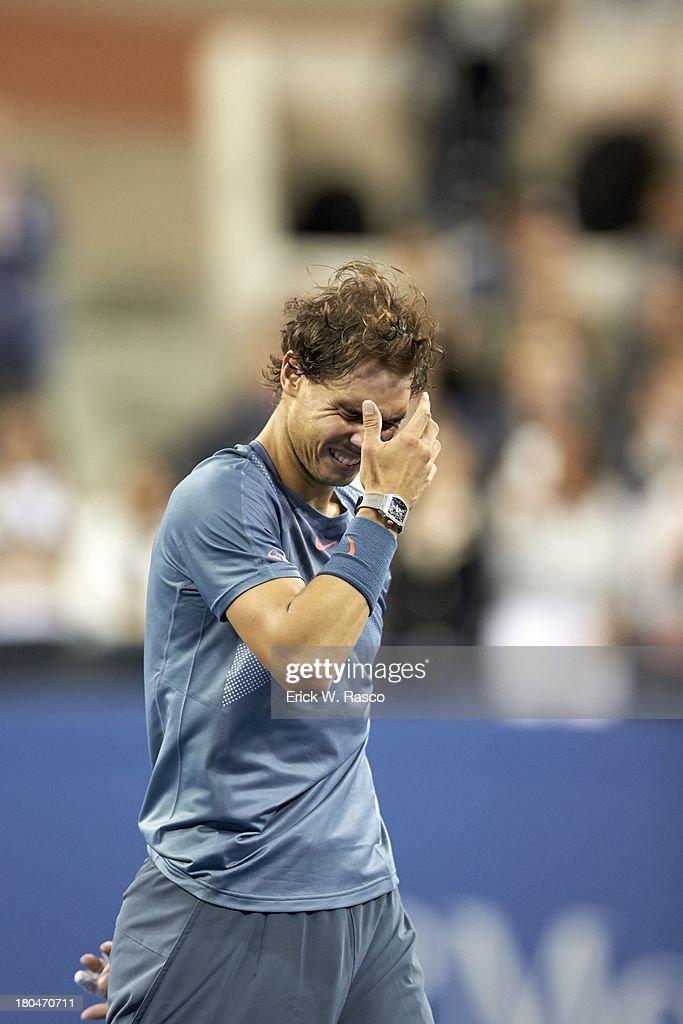 Spain Rafael Nadal emotional after winning match vs Serbia Novak Djokovic during Men's Final at BJK National Tennis Center. Erick W. Rasco F90 )