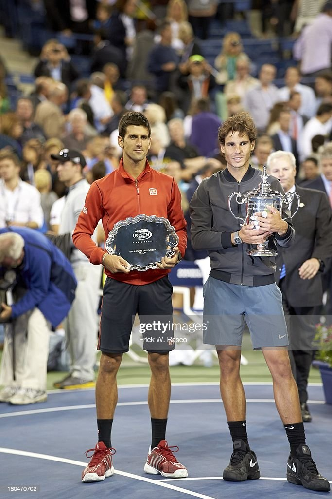 Spain Rafael Nadal (R) holding US Open Trophy with Serbia Novak Djokovic with seond place trophy after Men's Final at BJK National Tennis Center. Erick W. Rasco F70 )