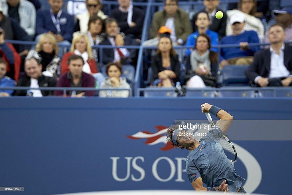 Spain Rafael Nadal in action, serving vs Serbia Novak Djokovic during Men's Final at BJK National Tennis Center. Erick W. Rasco F270 )