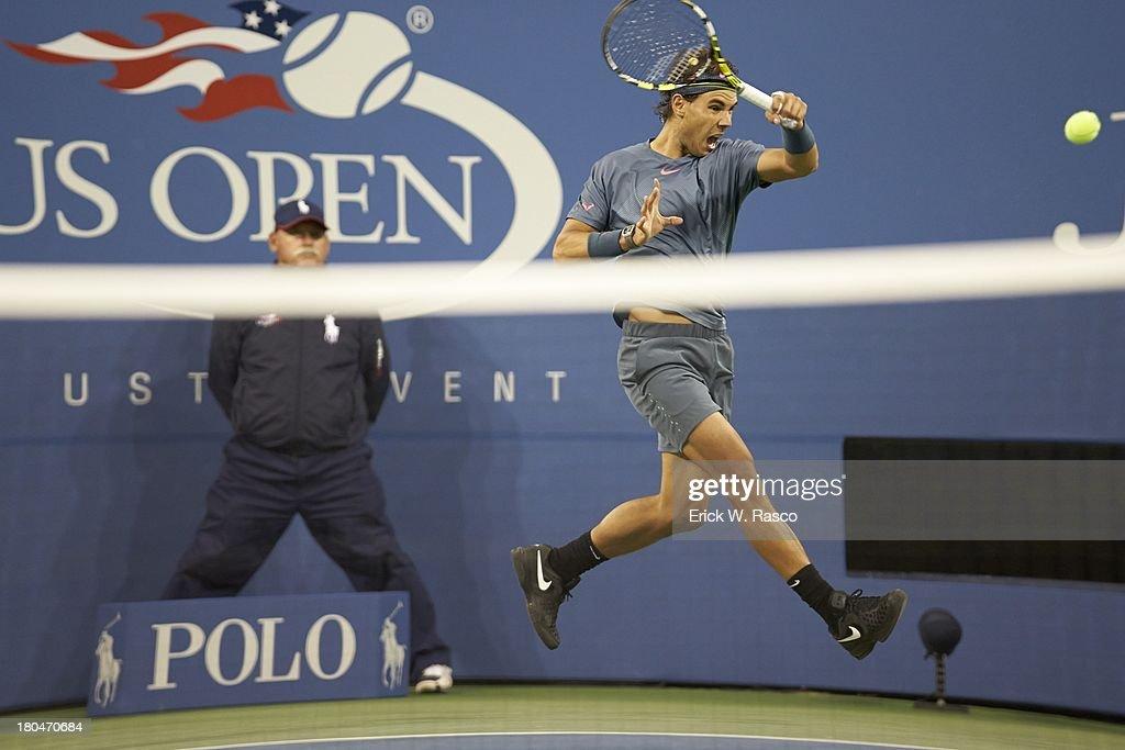 Spain Rafael Nadal in action vs Serbia Novak Djokovic during Men's Final at BJK National Tennis Center. Erick W. Rasco F13 )