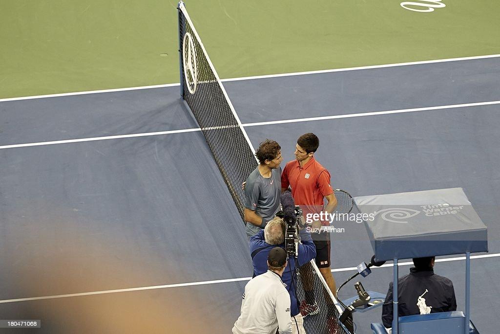 Spain Rafael Nadal victorious with Serbia Novak Djokovic after winning Men's Final vs at BJK National Tennis Center. Suzy Allman F79 )