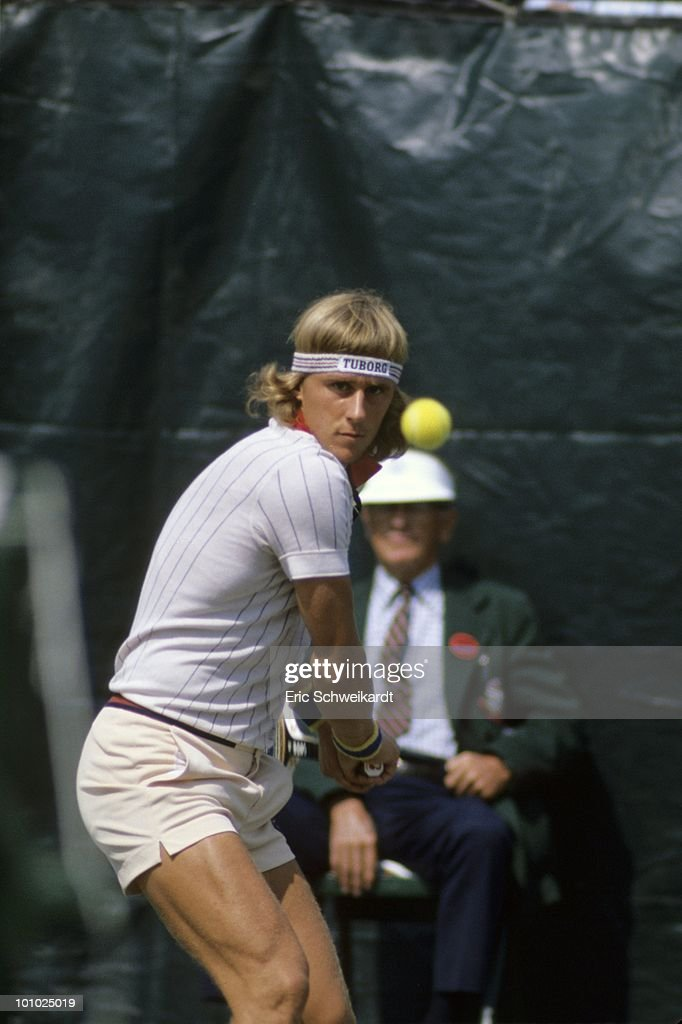 Sweden Bjorn Borg in action vs Romania Ilie Nastase during Men's Semifinals at West Side Tennis Club. Forest Hills, NY 9/11/1976