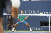 US Open Switzerland Roger Federer in action vs Croatia Marin Cilic during Men's Semifinals match at BJK National Tennis Center Flushing NY CREDIT...