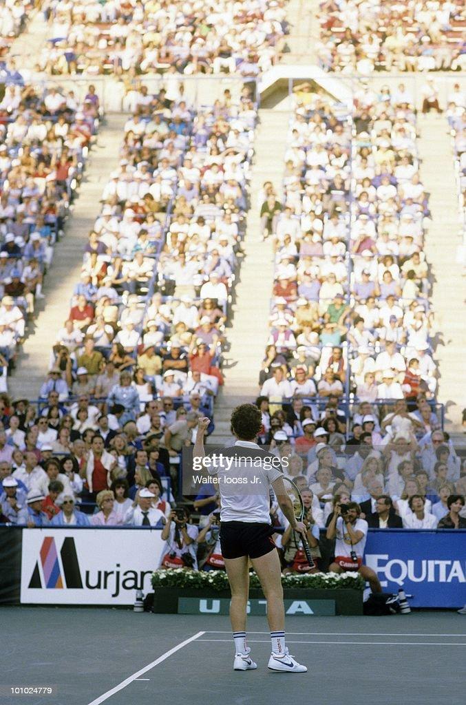 USA John McEnroe victorious after winning Men's Finals vs Czechoslovakia Ivan Lendl at National Tennis Center. Flushing, NY 9/9/1984