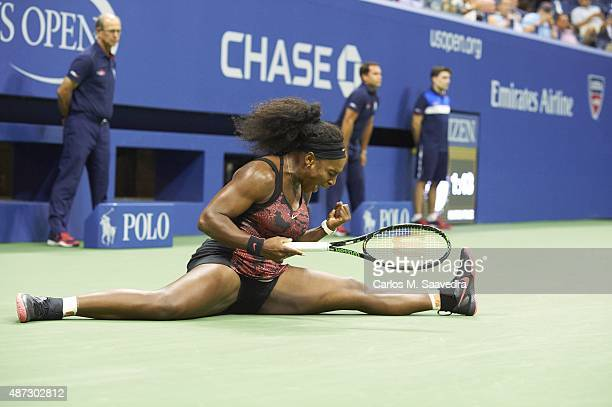 US Open USA Serena Williams victorious and doing split during Women's 3rd Round match vs USA Bethanie MattekSands at BJK National Tennis Center...