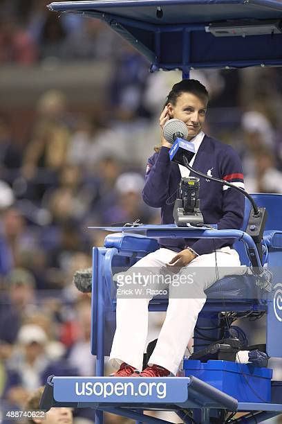 US Open View of chair umpire Eva AsderakiMoore seated during Switzerland Roger Federer vs Serbia Novak Djokovic Men's Final at BJK National Tennis...
