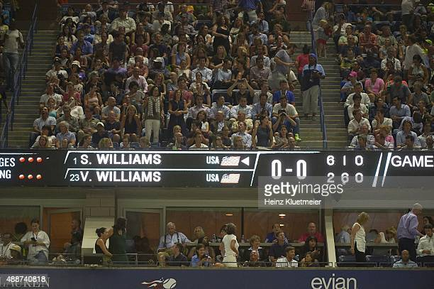 US Open View of scoreboard after second set during USA Serena Williams vs USA Venus Williams Women's Quarterfinal match at BJK National Tennis Center...