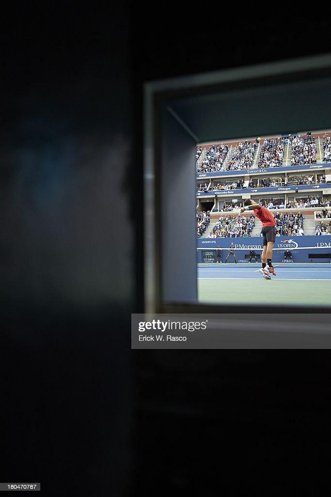 View of Serbia Novak Djokovic in action, serving vs Spain Rafael Nadal during Men's Final at BJK National Tennis Center. Erick W. Rasco F107 )
