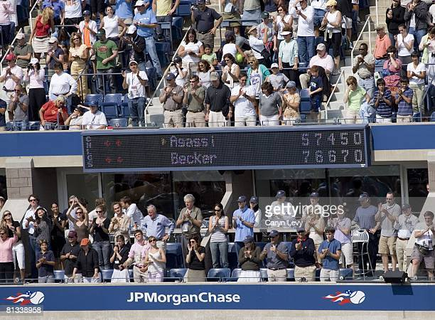 Tennis US Open View of video screen scoreboard during 3rd Round match of USA Andre Agassi vs Germany Benjamin Becker at National Tennis Center Final...