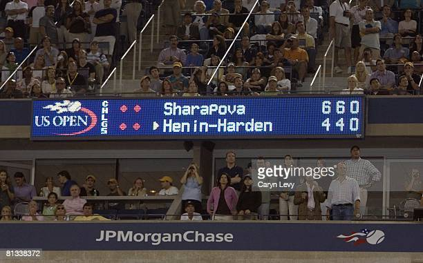 Tennis US Open View of video screen scoreboard during Finals match of Russia Maria Sharapova vs Belgium Justine HeninHardenne at National Tennis...