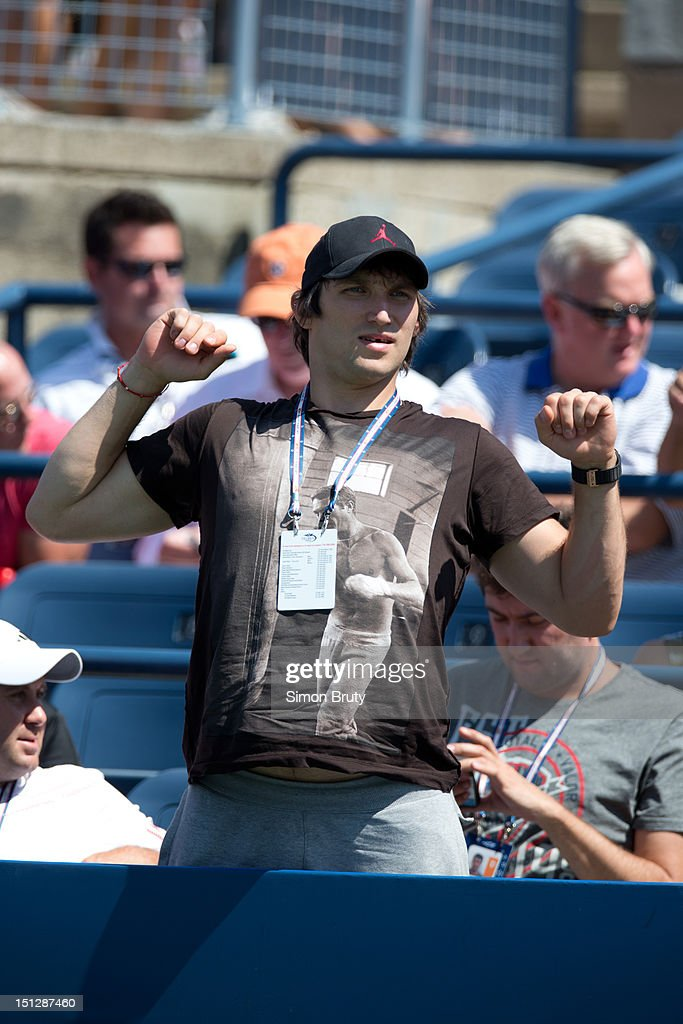 View of Washington Capitals player Alexander Ovechkin casual, in stands during Women's 2nd Round match between Russia Maria Kirilenko and Hungary Greta Arn at BJK National Tennis Center. Ovechkin is Kirilenko's boyfriend. Simon Bruty F133 )
