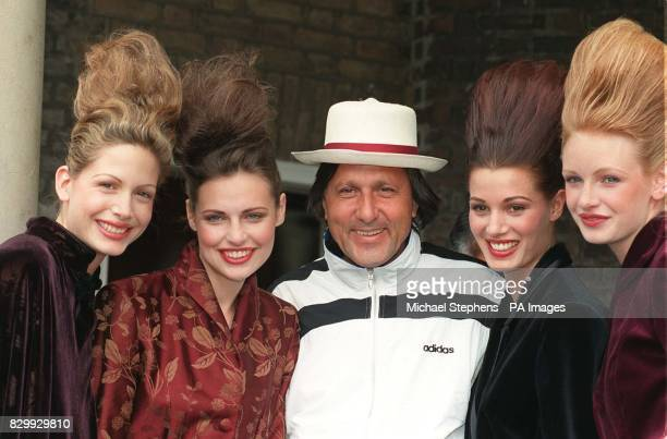 Tennis veteran Ilie Nastase joins some of the models at today's catwalk show as tennis stars tried their hand at fashion modelling during the...