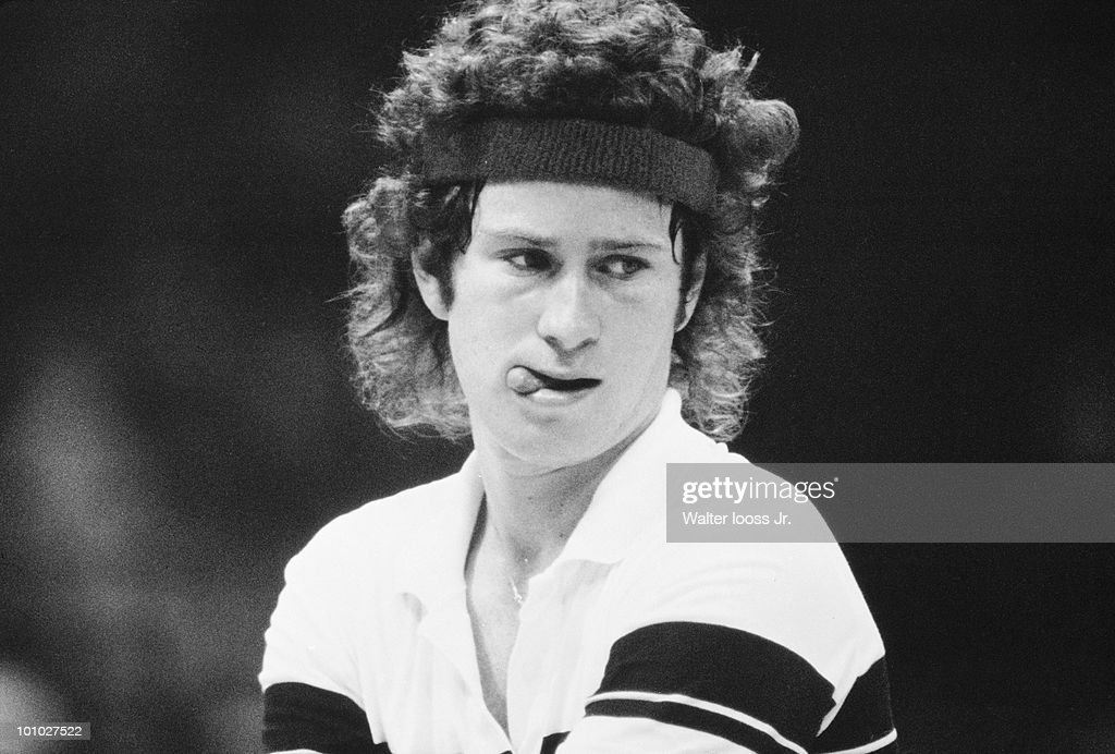 Closeup of USA John McEnroe in action, serve during match at Reunion Arena. Dallas, TX 5/3/1980