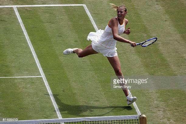 Tennis Wimbledon Aerial view of RUS Maria Sharapova in action during quarterfinals match vs RUS Nadia Petrova at All England Club London GBR 6/28/2005