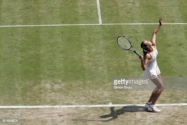 Tennis Wimbledon Aerial view of RUS Maria Sharapova in action making serve during quarterfinals match vs RUS Nadia Petrova at All England Club London...
