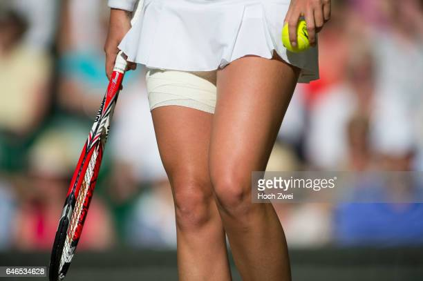 Wimbledon Championship 2014 bandage around Petra Kvitova' leg from Czech Republic in action during her Women's Singles third round match against...