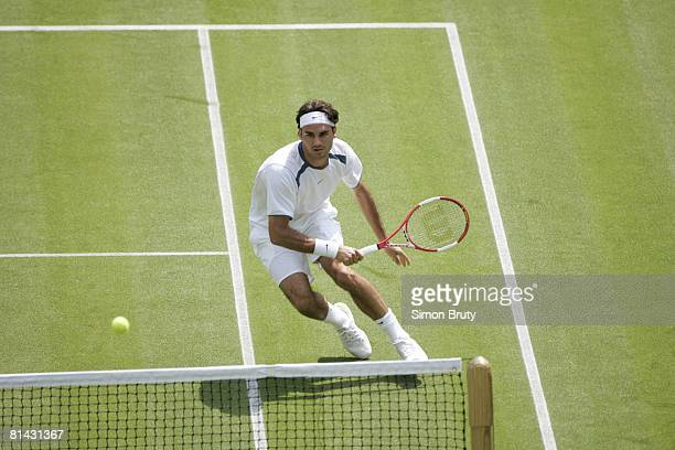Tennis Wimbledon CHE Roger Federer in action during round one match vs FRA PaulHenri Mathieu at All England Club London GBR 6/20/2005