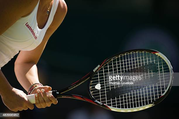 Wimbledon Closeup of racket of Serbia Jelena Jankovic during Women's 3rd Round match vs Czech Republic Petra Kvitova at All England Club Equipment...