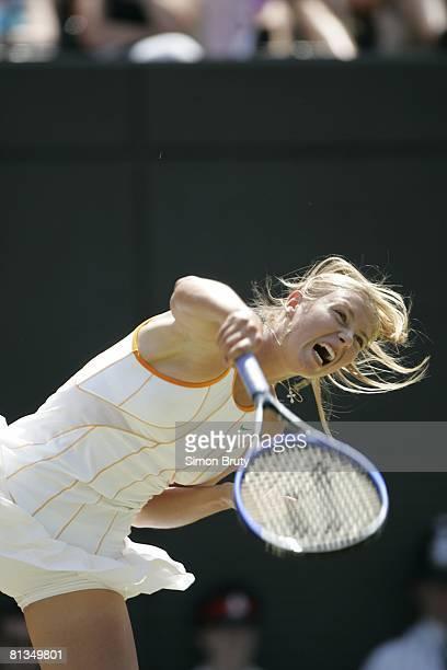 Tennis Wimbledon Closeup of RUS Maria Sharapova in action during quarterfinals match vs RUS Nadia Petrova at All England Club London GBR 6/28/2005