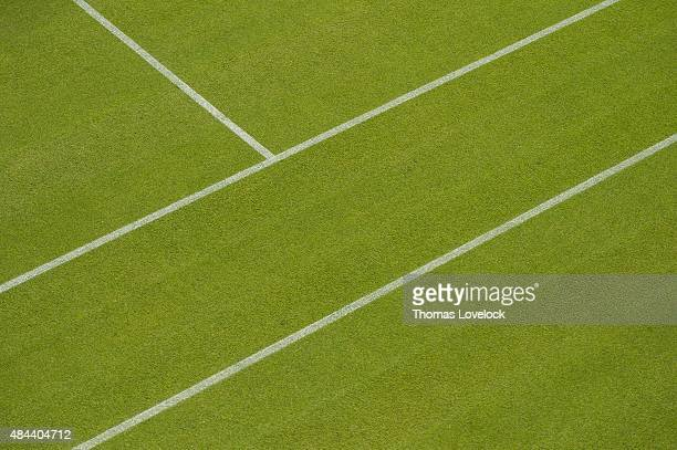 Wimbledon Closeup view of court lines and grass at All England Club London England 6/24/2015 CREDIT Thomas Lovelock