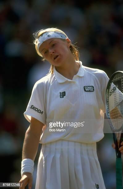Wimbledon Czech Republic Jana Novotna upset during Women's Final match vs Switzerland Martina Hingis at All England Club London England 7/3/1997...