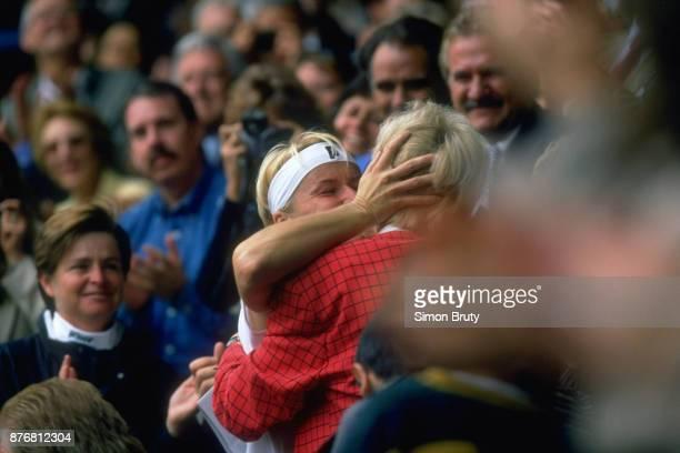 Wimbledon Czech Republic Jana Novotna victorious embracing her mother in stands after winning Women's Final match vs France Nathalie Tauziat at All...