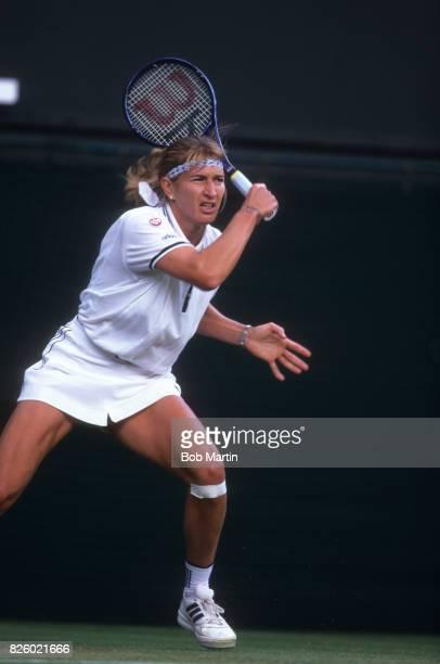 Wimbledon Germany Steffi Graf in action vs Czech Republic Jana Novotna during Women's Quarterfinals at All England Club London England 7/2/1996...