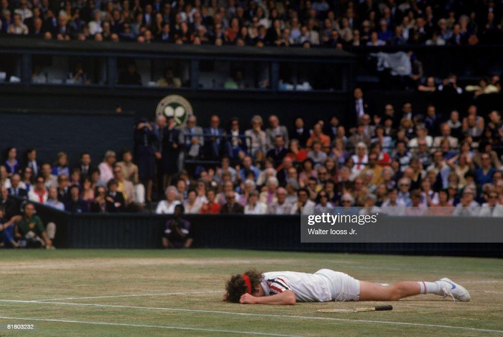 Wimbledon, John McEnroe upset after losing finals match vs Bjorn Borg at All England Club, London, GBR 6/29/1980