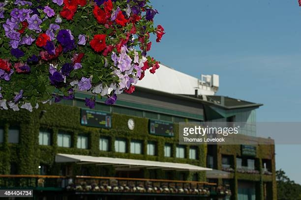 Wimbledon Scenic view of flowers in front of Centre Court at All England Club London England 7/1/2015 CREDIT Thomas Lovelock