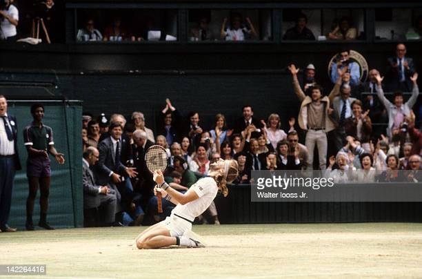 Wimbledon Sweden Bjorn Borg victorious after winning match vs USA John McEnroe during finals match at All England Club London England 7/6/1980 CREDIT...