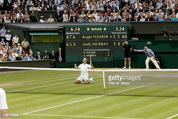Wimbledon Switzerland Roger Federer victorious after winning match vs Great Britain Andy Murray during Men's Final at All England Club London England...