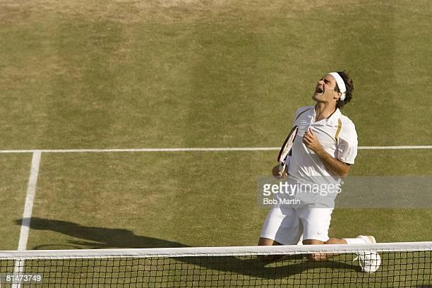Tennis Wimbledon Switzerland Roger Federer victorious after winning Finals match vs Spain Rafael Nadal at All England Club London England 7/8/2007