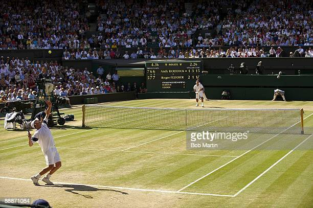 Wimbledon USA Andy Roddick in action serve vs Switzerland Roger Federer during Men's Finals at All England Club London England 7/5/2009 CREDIT Bob...